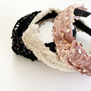 Image of Ribbed Velvet and Sequin Turban Headbands