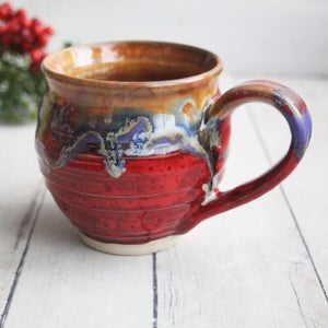 Image of Bright Colorful Mug with Artful Dripping Glazes, Handcrafted Coffee Cup, Made in USA