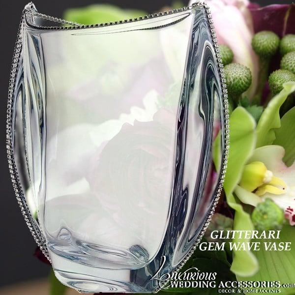 Image of Glitterati Sparkling Crystal Gem Wave Vase