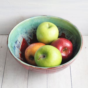 Image of Gorgeous Green and Red Serving Bowl, Handcrafted Pottery Centerpiece, Made in USA