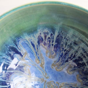 Image of Large Serving Bowl with Blue and Green Dripping Glazes, Made in USA