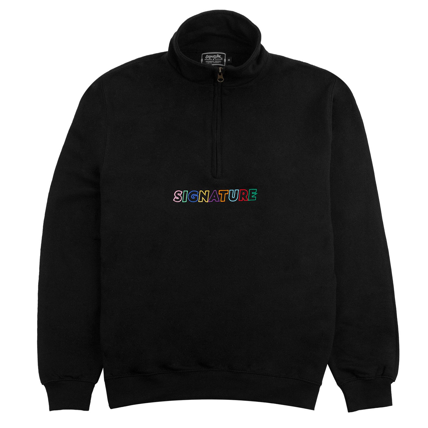 Image of OUTLINE LOGO EMBROIDERED 1/4 ZIP SWEATSHIRT - BLACK / MULTI