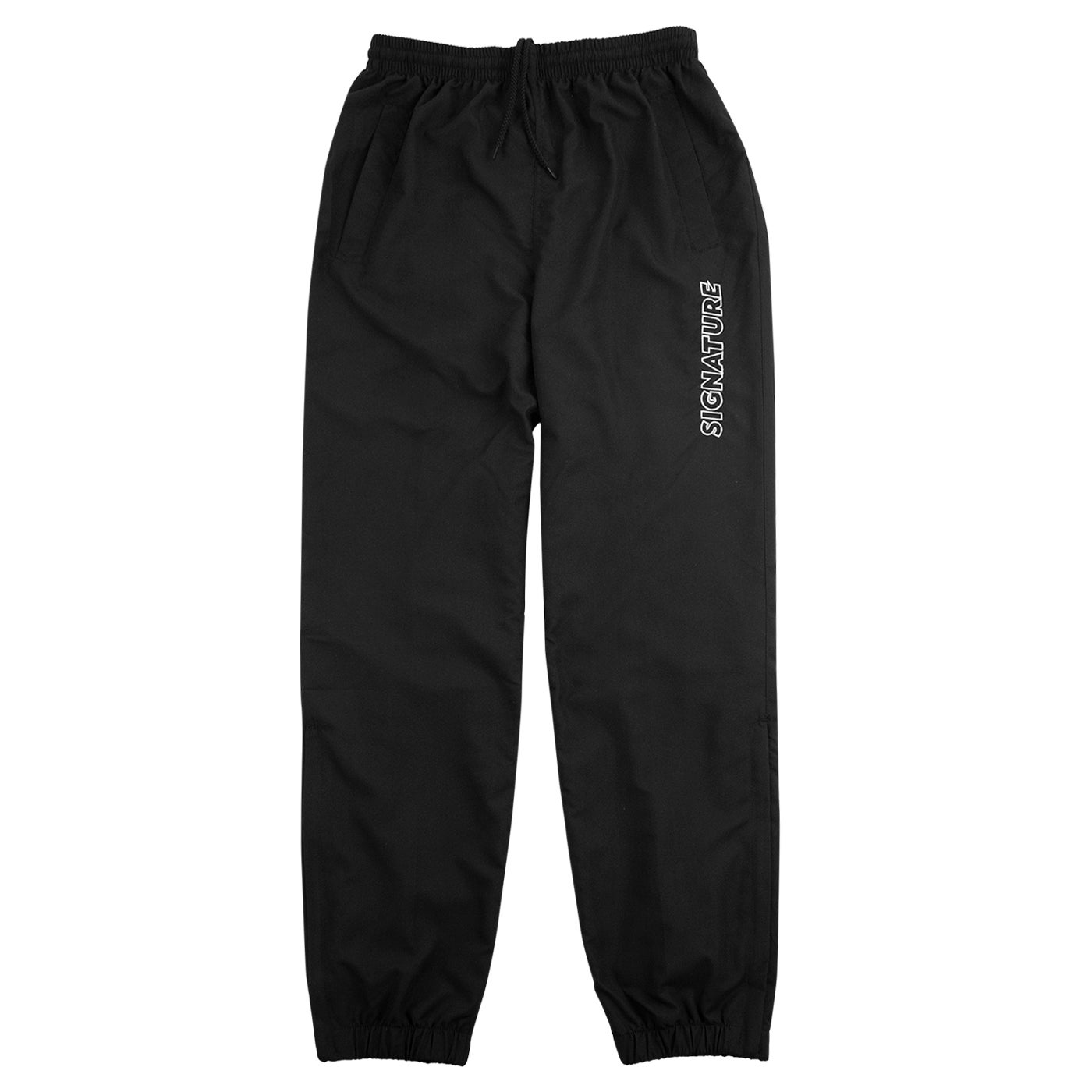 Image of OUTLINE LOGO EMBROIDERED TRACKSUIT PANTS - BLACK / WHITE