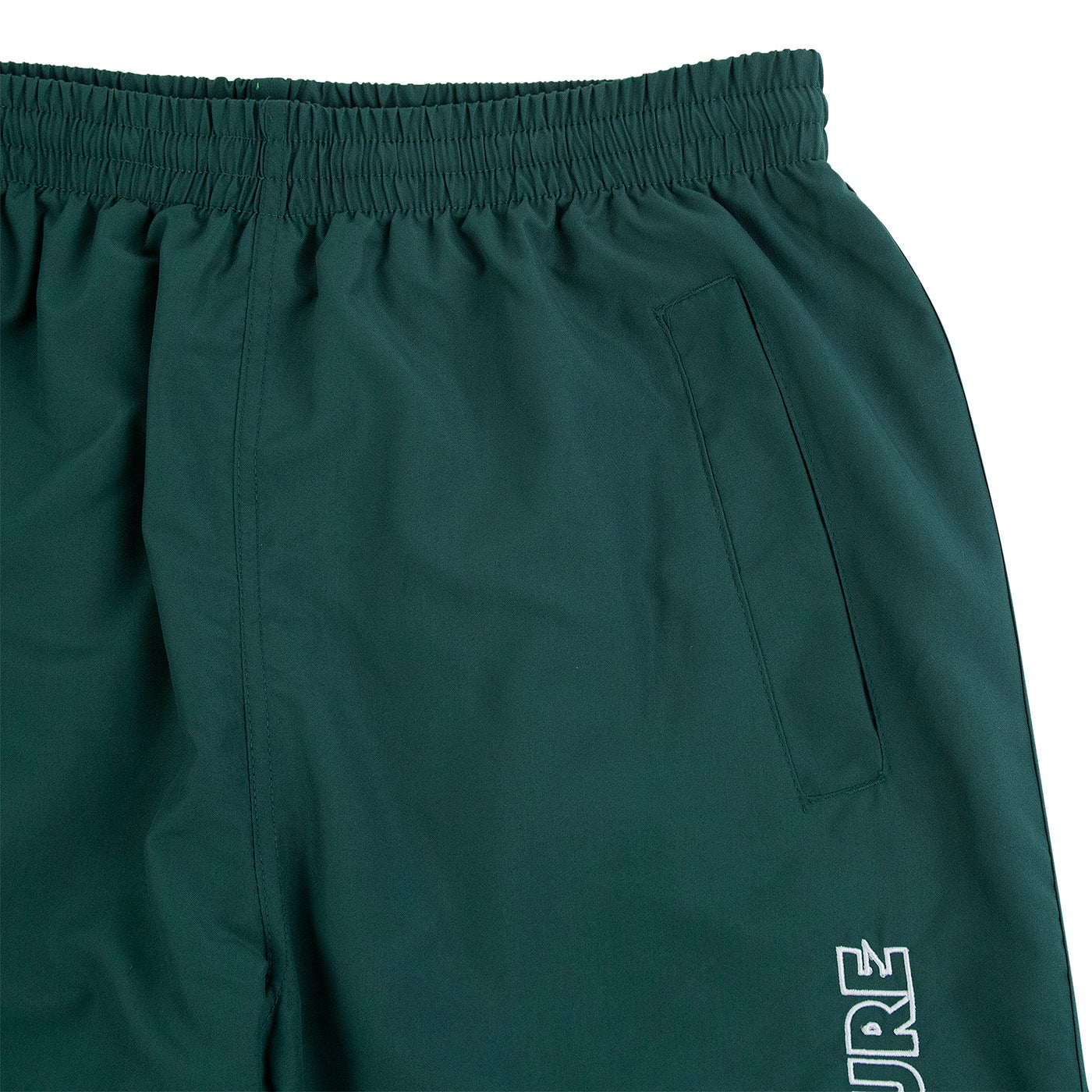 Image of OUTLINE LOGO EMBROIDERED TRACKSUIT PANTS - DARK GREEN / WHITE