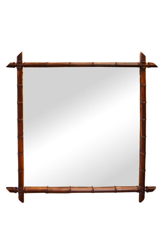 Image of Early 20th Century French Faux Bamboo Mirror