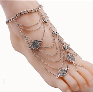 Image of Gold plated multi-chain anklet