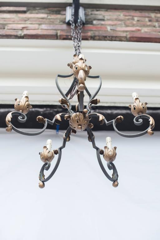 Image of Early 20th Century French Iron Chandelier