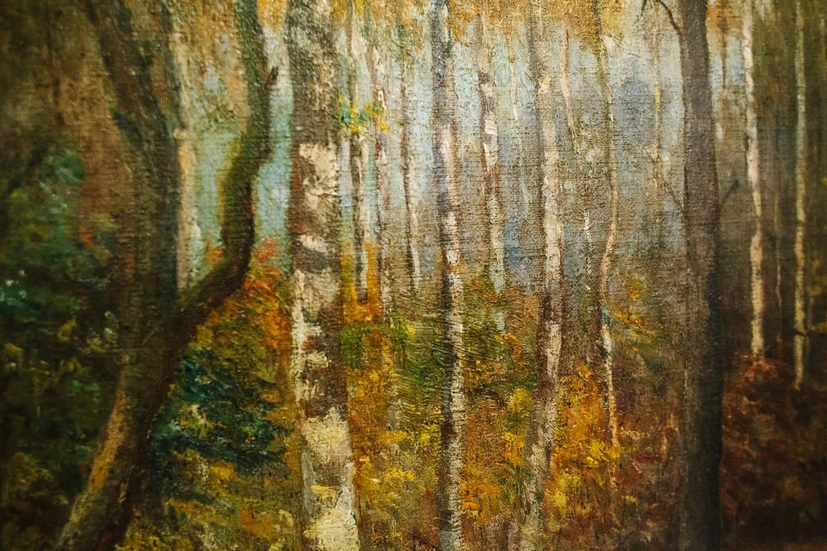 Image of 20th Century Oil on Canvas of Trees in Giltwood Frame From Belgium