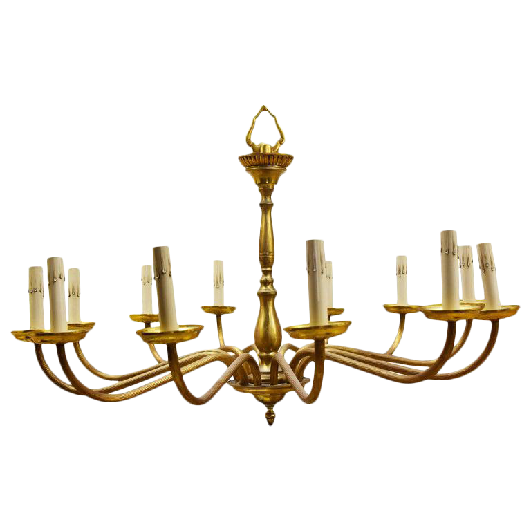 Image of Vintage European Twelve-Arm Brass Chandelier
