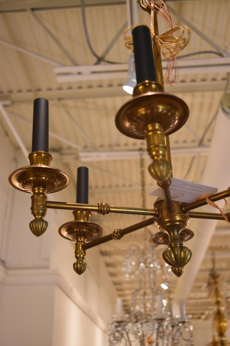 Image of Vintage French Brass Chandelier With Black Candle Covers