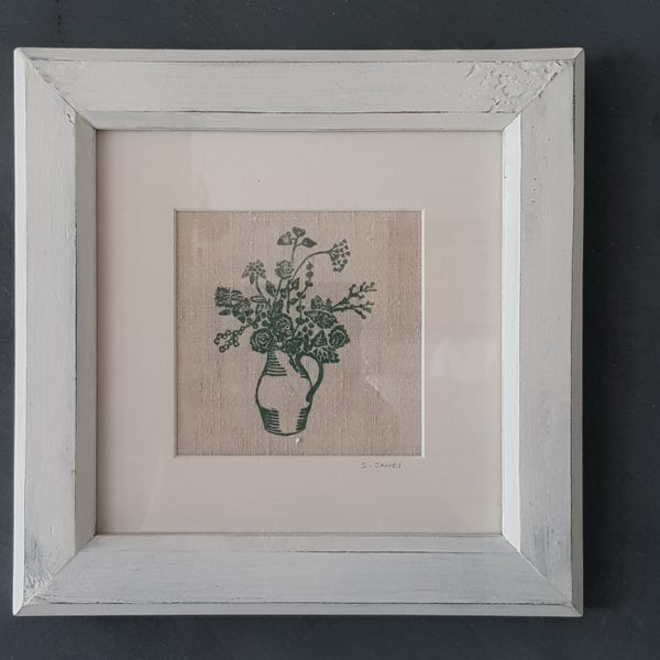 Image of Green Jug of Flowers - Framed