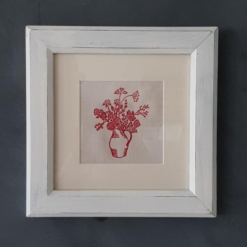 Image of Red Jug of Flowers - Framed