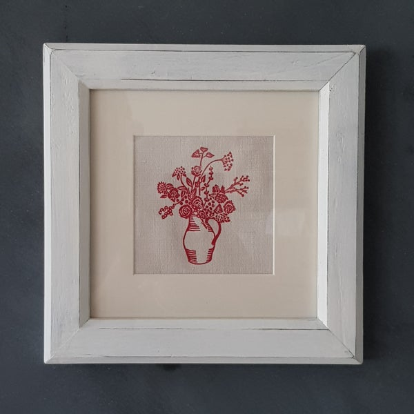 Image of Red Jug of Flowers - Framed