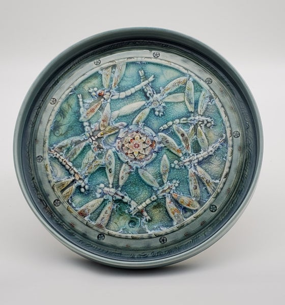 Image of Handcarved Dragonfly Porcelain  Platter
