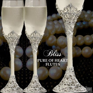 Image of Bliss Pure of Heart Swarovski Crystal Champagne Flutes