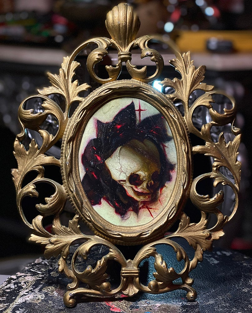 Image of 'LOVE NEVER DIES' [ Unique Print - { 1/1 } ] Hand Embellished Print in Victorian Cast Iron Frame