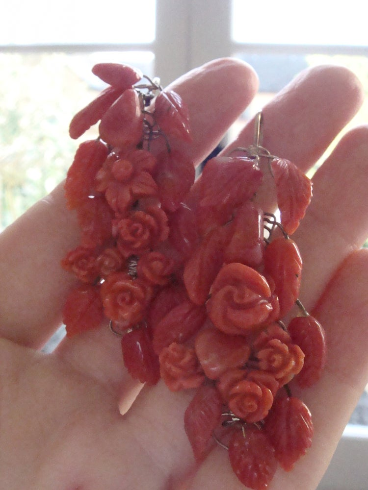 Image of VINTAGE 9CT YELLOW GOLD ITALIAN NATURAL CORAL DROP EARRINGS