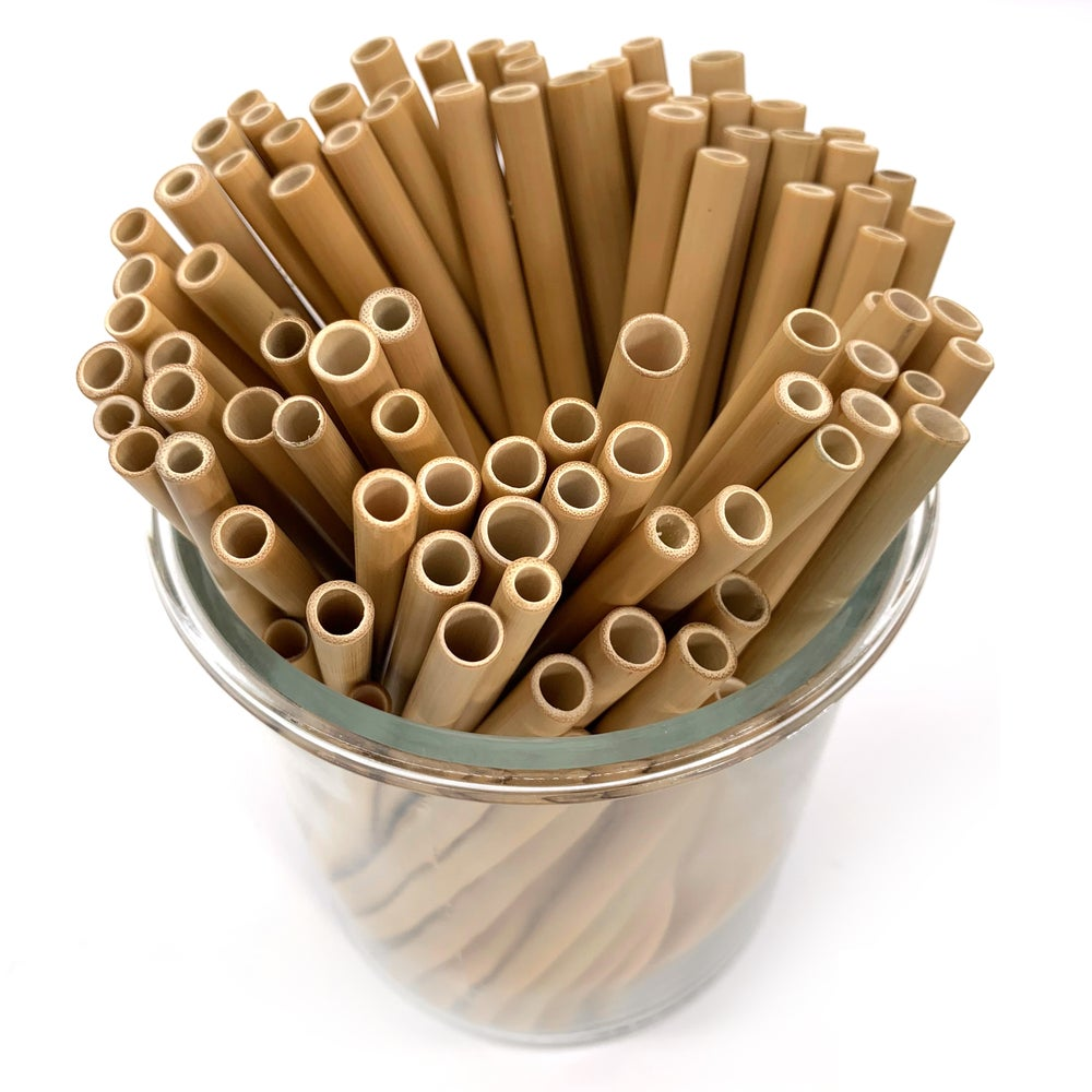 Image of Bamboo Straws and Cleaning Brush