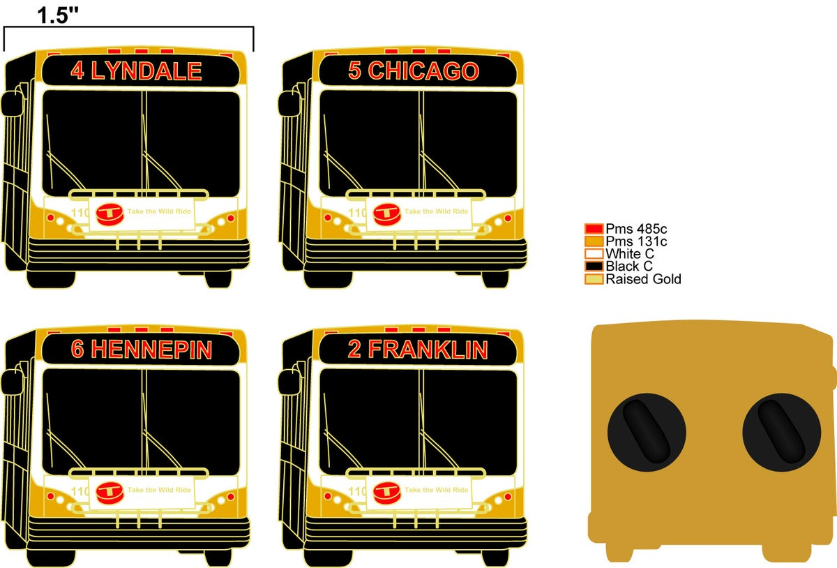 Image of MINNEAPOLIS BUS PINS (SHIPS JANUARY 13)