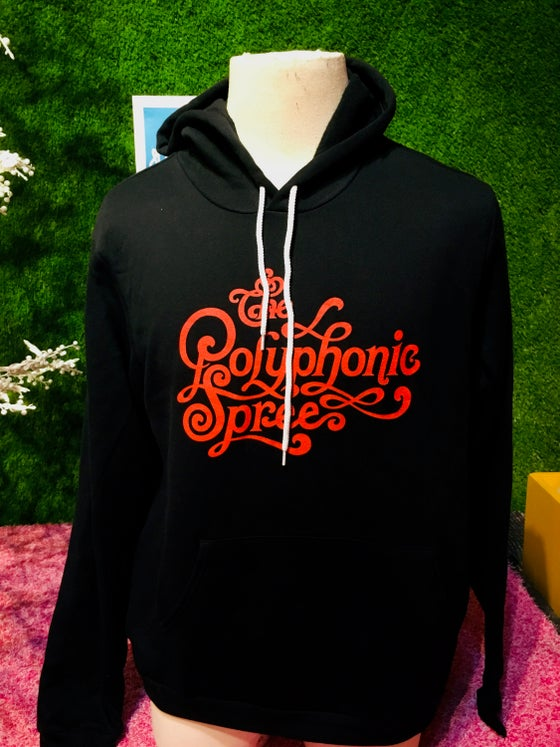 Image of Black hoodie with red logo