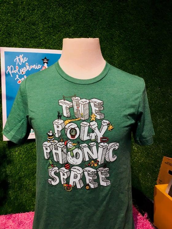 Image of Green holiday logo adult shirt