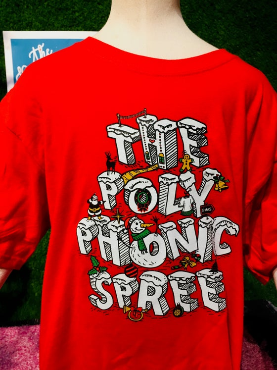 Image of Youth red holiday logo shirt