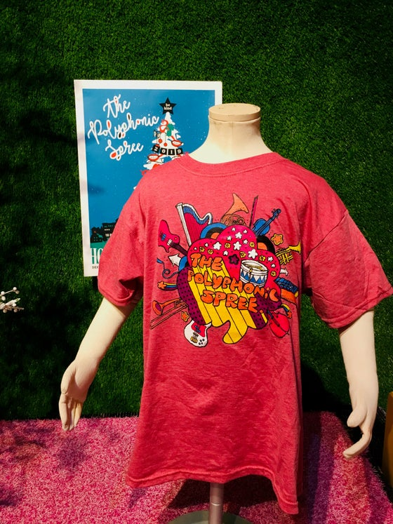 Image of Youth heathered red instruments shirt