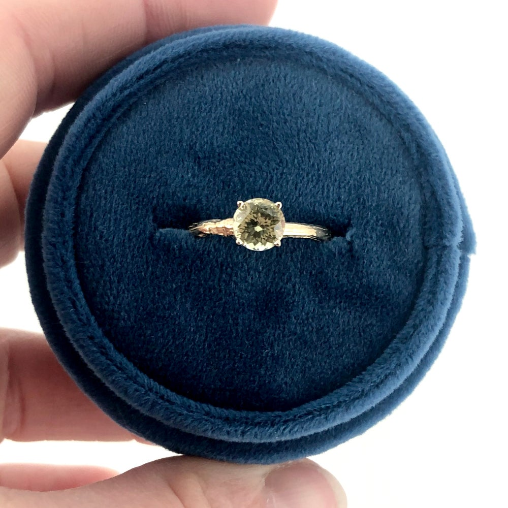 Image of Yellow sapphire engagement ring . Size 5.25