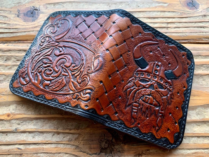 "Image of ""Harald"" Custom Viking Bi-Fold Wallet with Cash Slot and Four Card Slots."