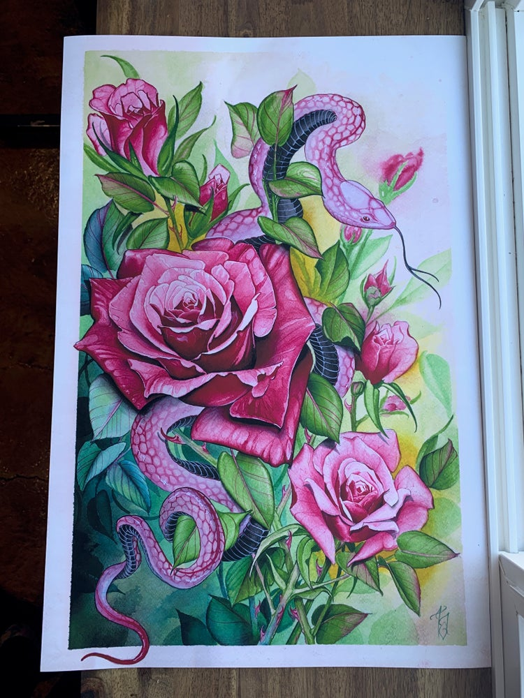 Image of Snake and Roses Print by Tyler Alderson
