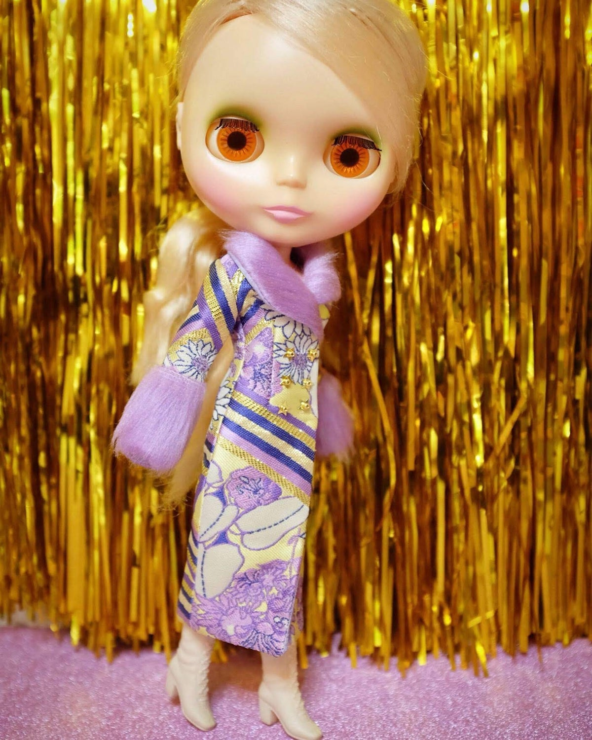 Image of LoungingLinda Duchess Coat ~ Lilac & Gold