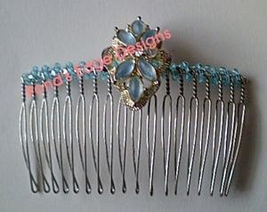 Image of Blue Beaded Flip Comb