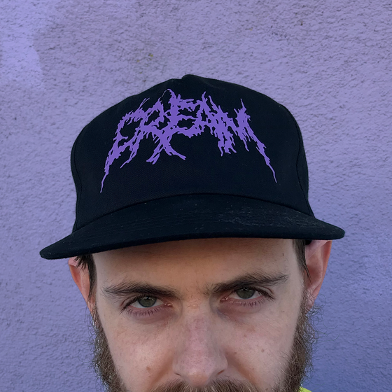 "Image of ""Black Metal CREAM"" - Black Snapback with Purple Print"