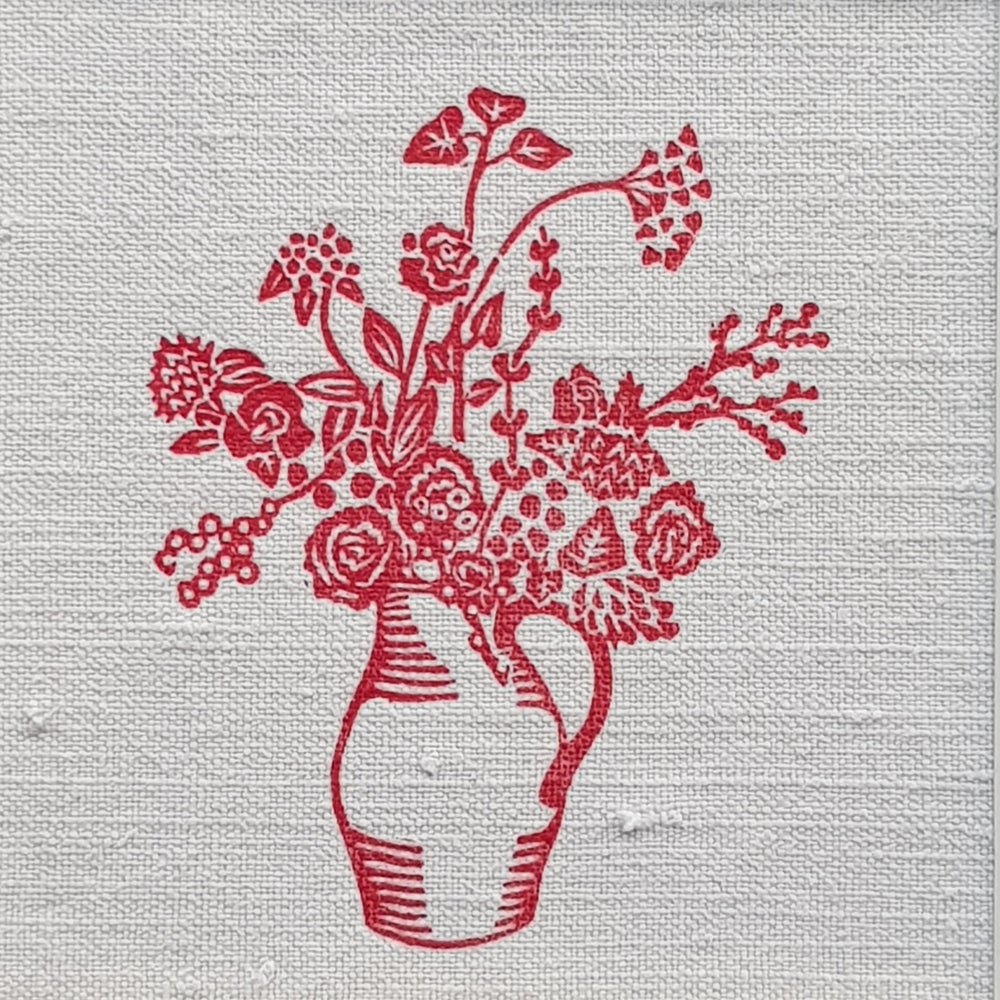 Image of Red Jug of Flowers - Mounted