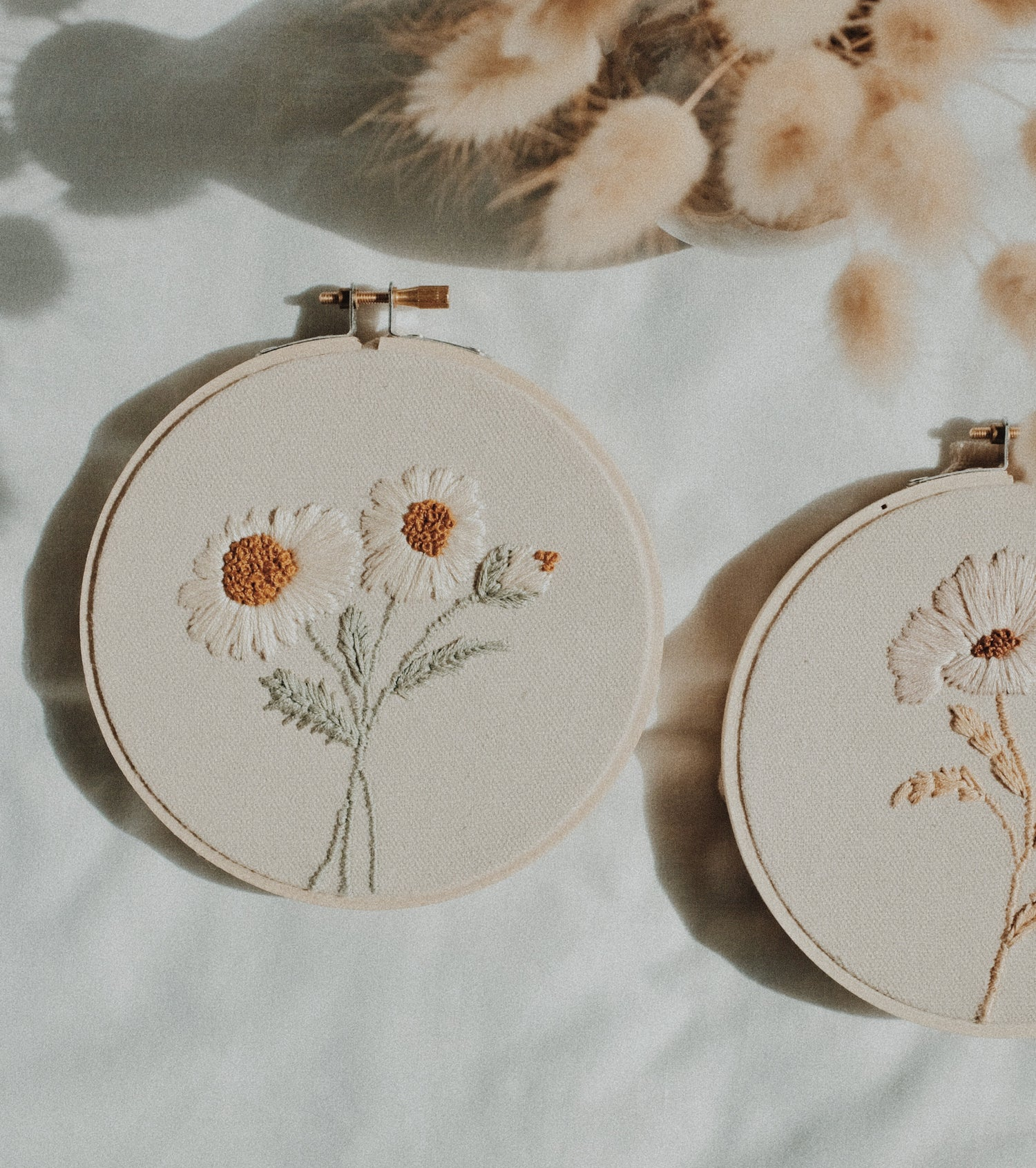 Image of Trio of Daisies Hand Embroidered Hoop (Small)