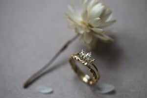 Image of 18ct yellow Gold white rose-cut marquise diamond trilogy ring IOW134