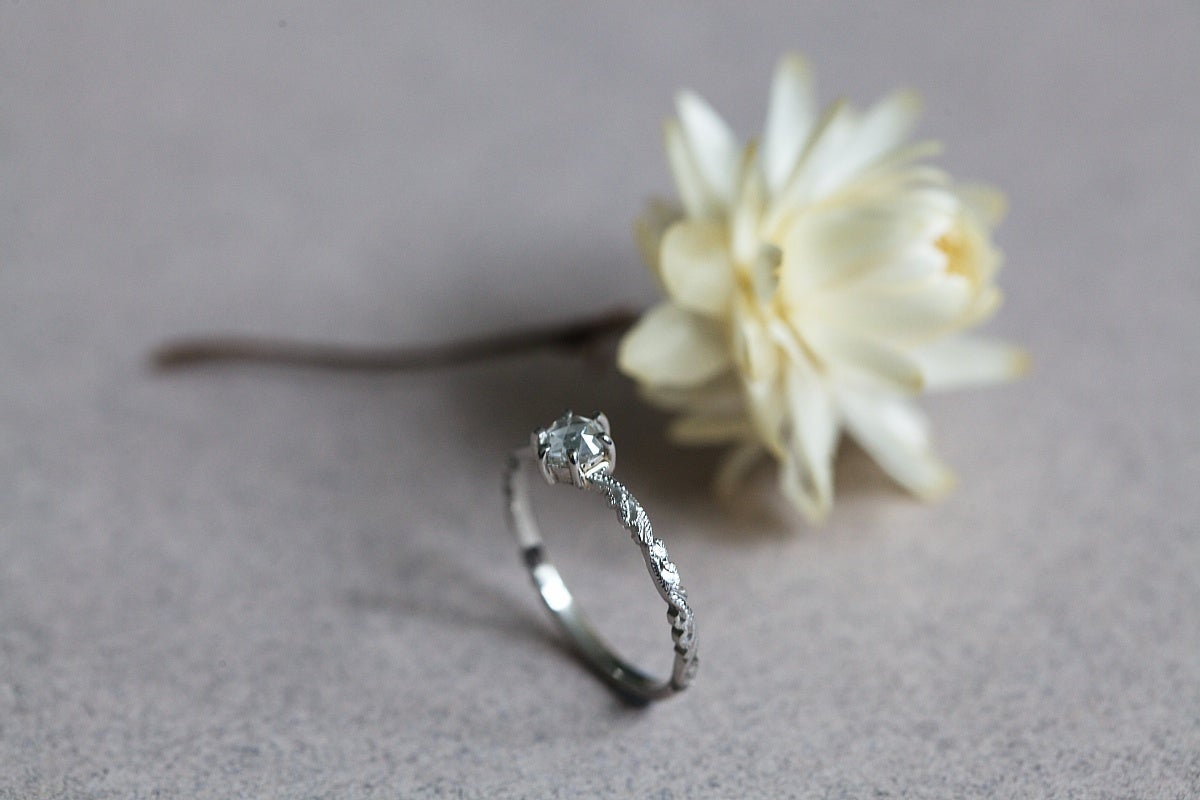 Image of platinum 4.1mm rose cut diamond ring IOW135