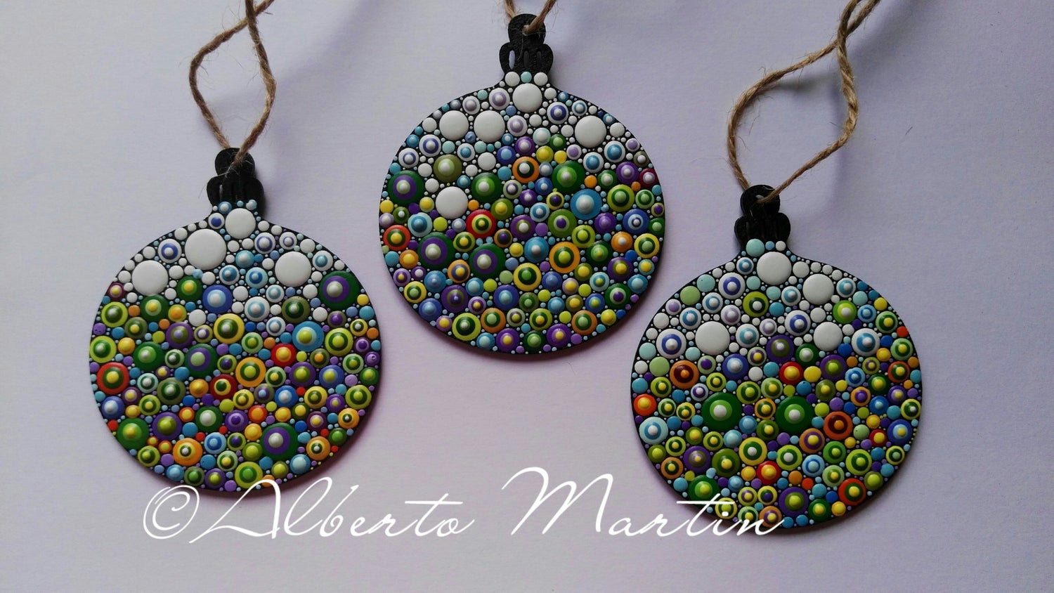 Image of (Number 14). Tree Ornaments - Dot Art Christmas ornaments. Set of 3.