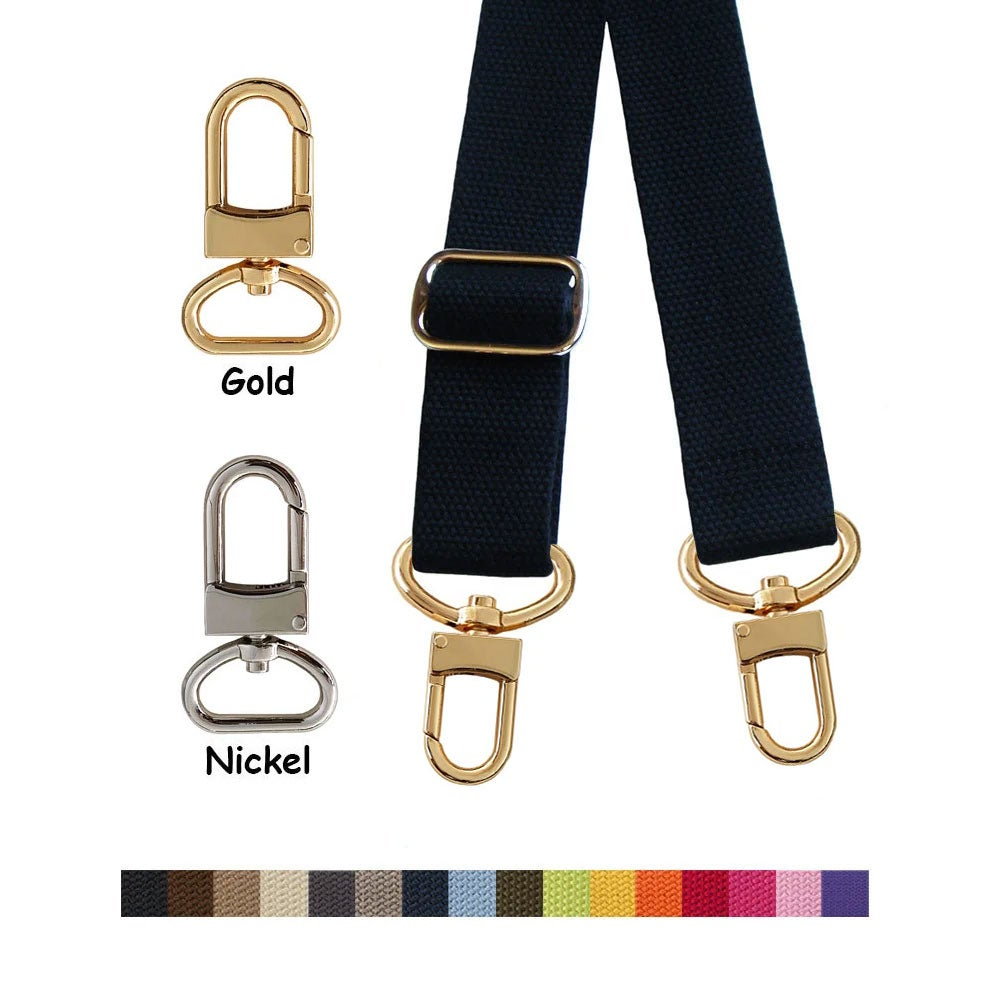 "Image of Cotton Canvas Strap - Adjustable - 1.5"" Wide - Choose Color, Length & Gold or Nickel #16XLG Hooks"