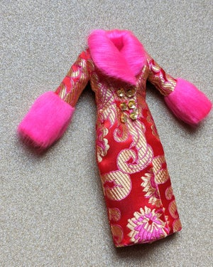 Image of LoungingLinda Duchess Coat ~ Red Brocade