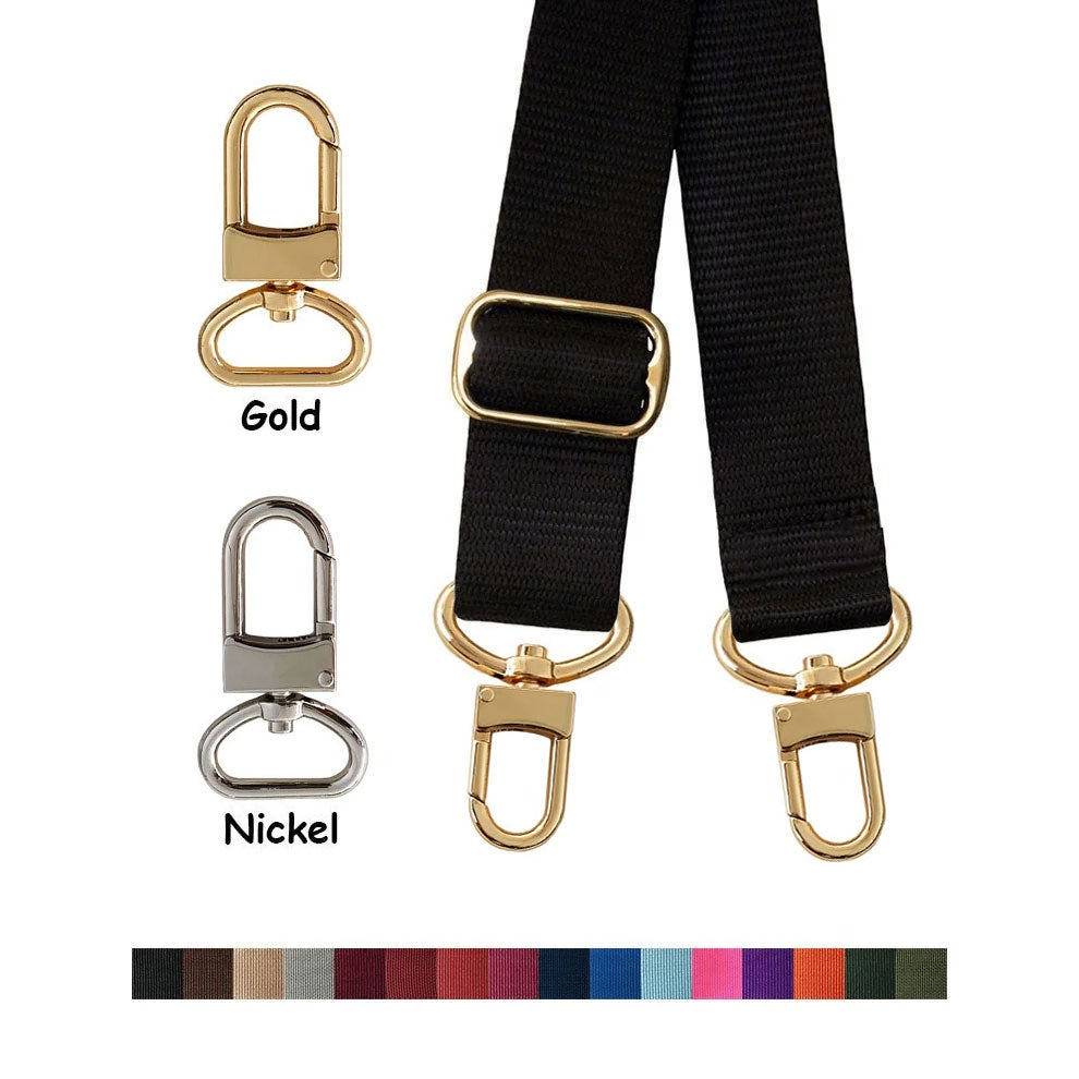 "Image of Nylon Webbing Strap - Adjustable - 1.5"" Wide - Choose Color, Length & Gold or Nickel #16XLG Hooks"
