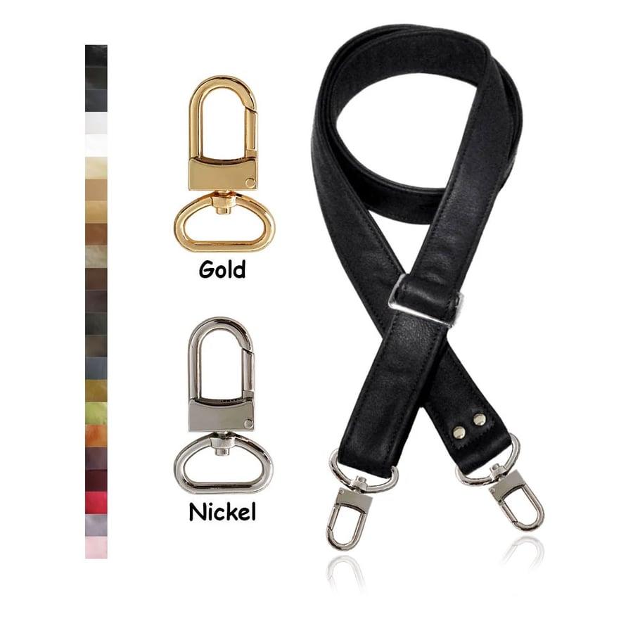 "Image of Adjustable Crossbody Bag Strap - Choose Leather Color - 55"" Maximum Length, 1.5"" Wide, #16XLG Hooks"