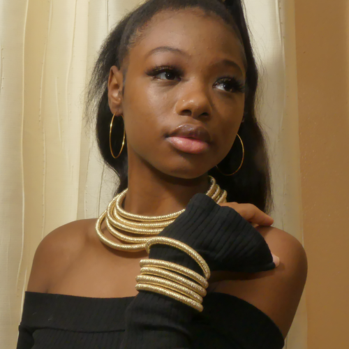 Image of African Golden Collar Choker and bracelet