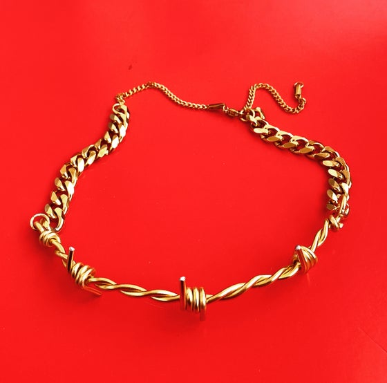 Image of HEAVY CHAIN GOLD BARBED WIRE CHOKER