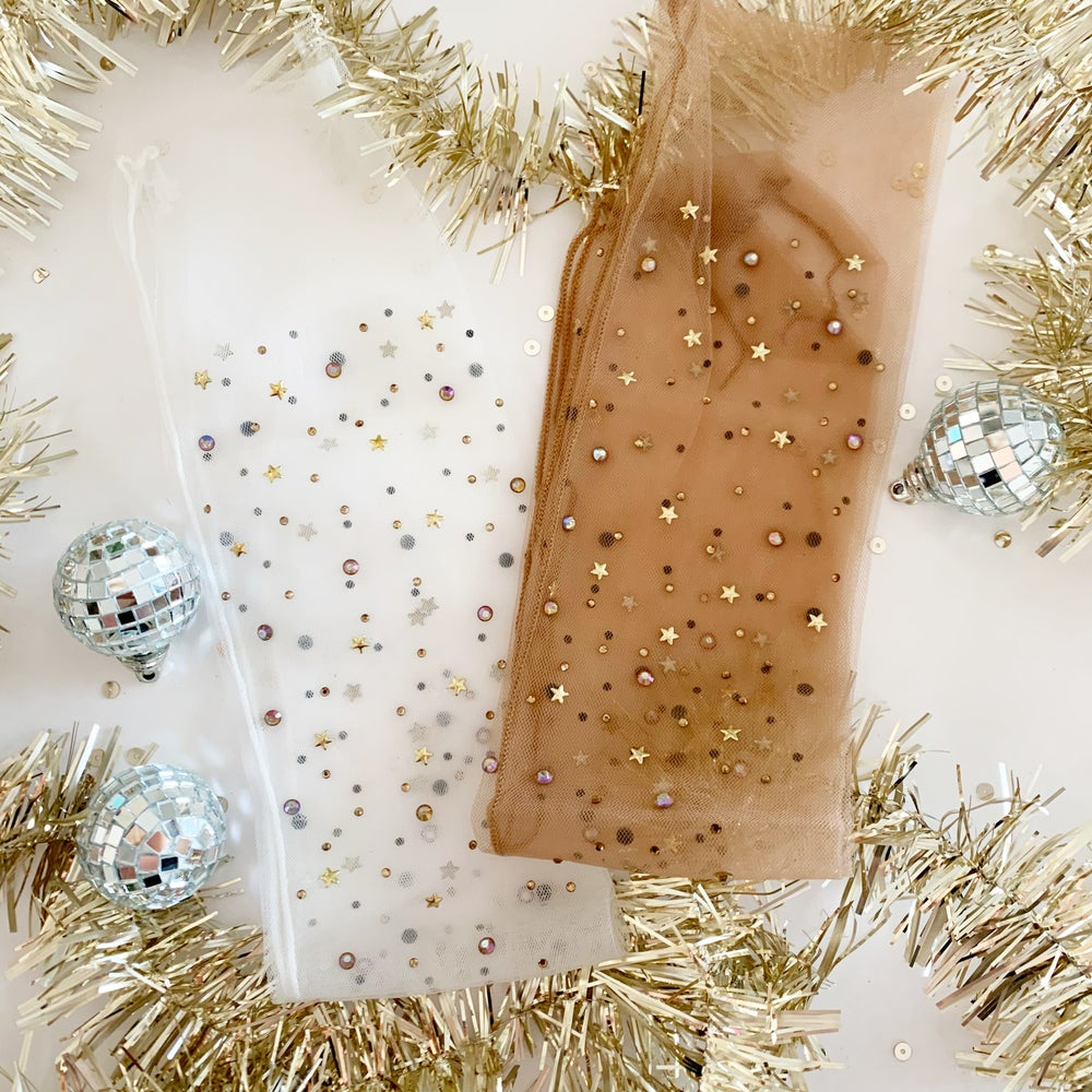 Image of Rhinestone + Stars Sheer Slouch Socks