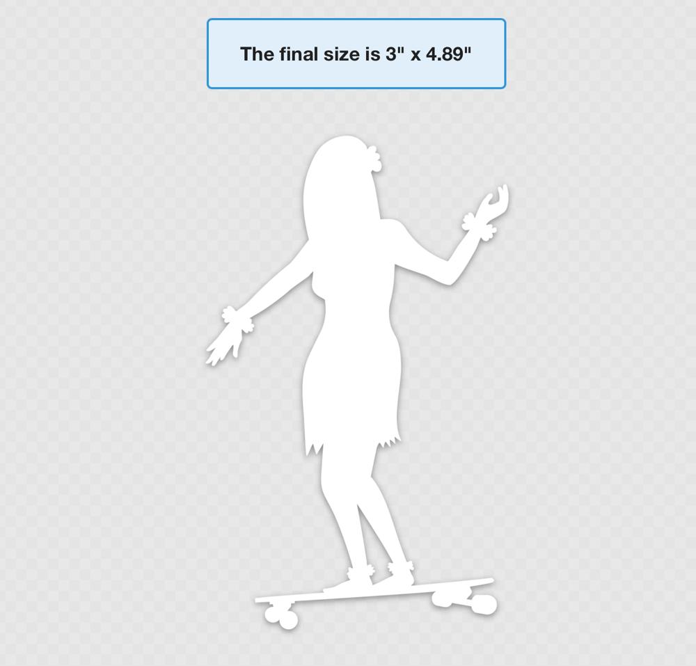 """Image of Hula Skater Vinyl Die Cut 4.89"""" x 3"""""""