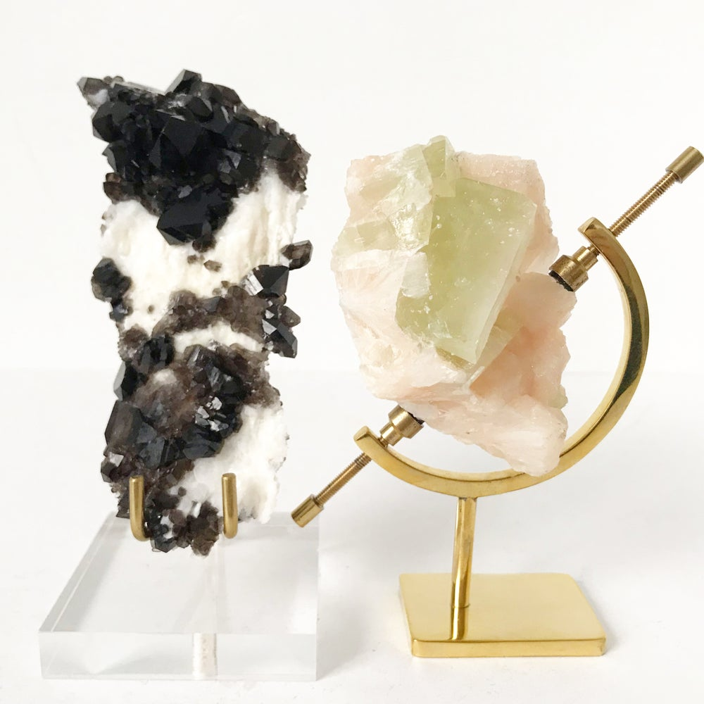 Image of Green Apophyllite/Stilbite no.32 + Lucite and Brass Stand