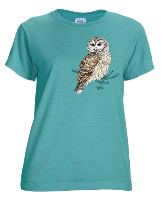 Image of Barred Owl garment dyed ladies t-shirt