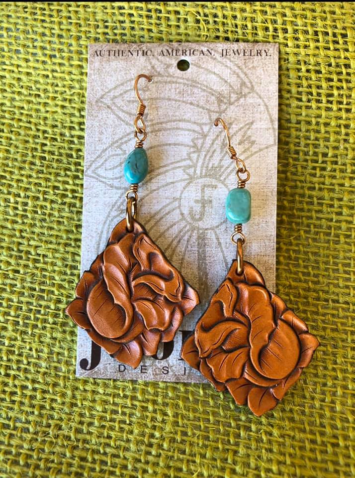 Image of Tooled Rose Leather Earrings with Turquoise J.Forks