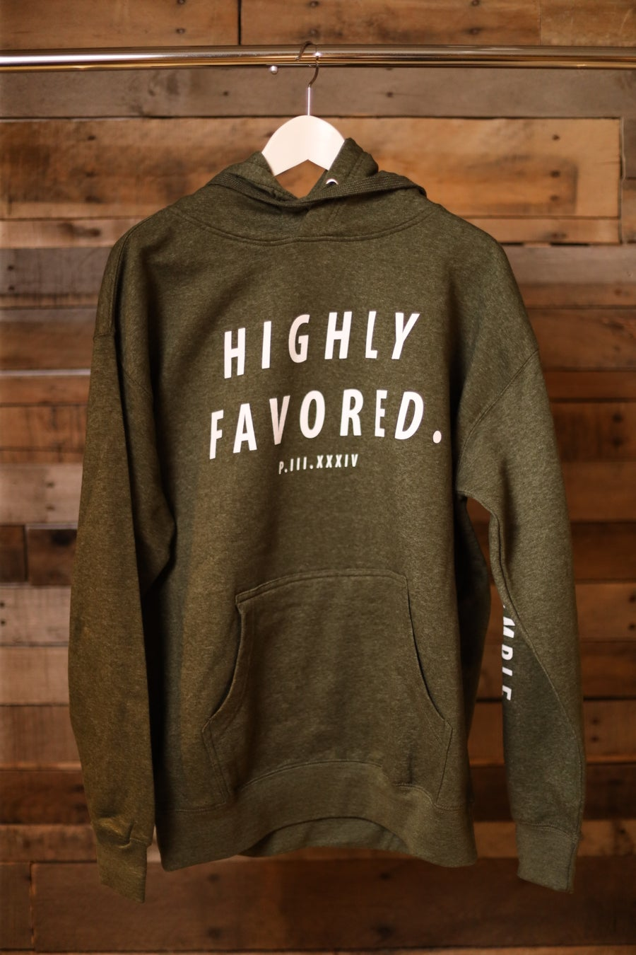 Image of Highly Favored Bold Military Green Pullover Hoodie